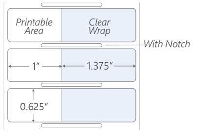 25.4mm x 15.9mm Thermal transfer wrap around deep-freeze labels notch 1 x 0.625 35mm wrap 1.375 wrap